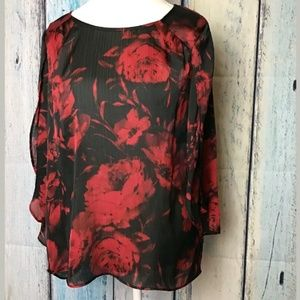 New Directions Sheer Floral Print Slit Sleeve (C)
